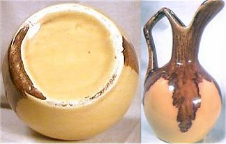 Tan pitcher with dark brown drip glaze on stem and handle by Winart Pottery, Oklahoma.