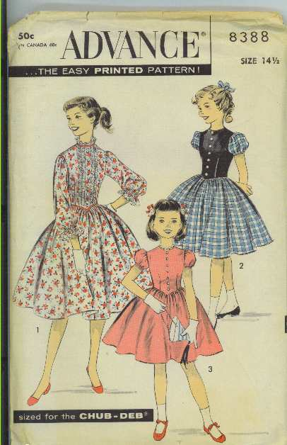 vintage sewing patterns Advance 8388 chub deb teens girls