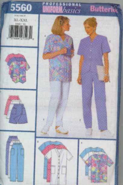 medical uniform sewing pattern scrubs Butterick