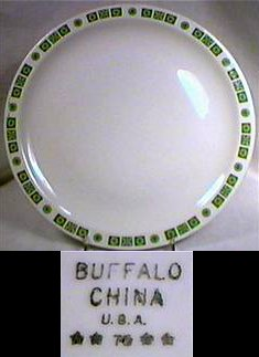 White restaurant ware plate with green symbols on the rim by Buffalo China, U.S.A.