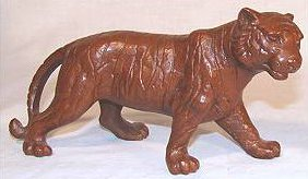 Tiger porcelain figurine in red by Red Mill Manufacturing.