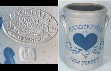 "White stoneware pot with blue flowers which reads ""Haddonfield New Jersey"", marked ""Rockdale Union Stoneware, Always Handmade, 1990"""