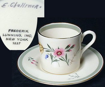 "Demitasse cup and saucer marked ""E.Challinor, Frederik Lunning, Inc. New York 1037."""