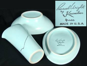"Aqua creamer and sugar designed by Russel Wright. Marked ""Russel Wright by Knowles, Grass, Made in U.S.A."""