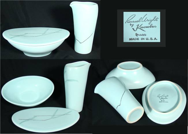 Aqua creamer and sugar designed by Russel Wright. Marked  Russel Wright by Knowles. American dinnerware ... & Collecting Antique American Dinnerware | Cajun Collection