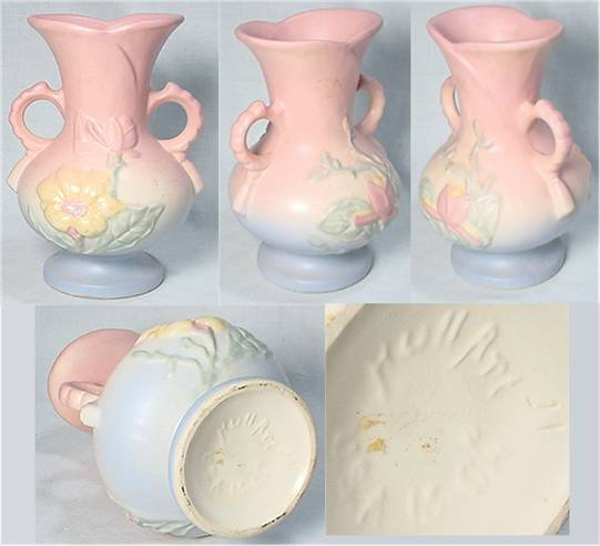 Blue to pink pastel gradient Hull flower vase in yellow/pink clay.
