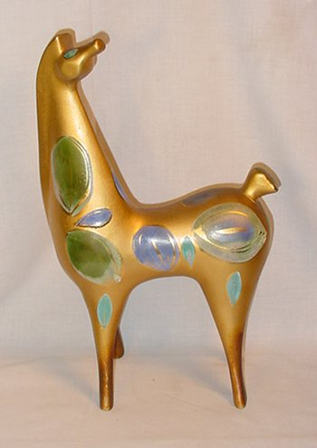 1960's Gold pottery horse figurine from California with hand-painted spots and swirls by Sasha Brastoff.