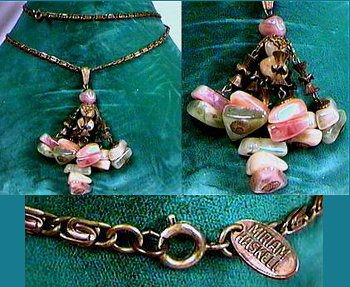 Tagged Miriam Haskell copper necklace with light colored stones. Necklace wraps around the neck twice in 1950's fashion.