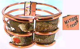 "Tri-banded 1960's copper bracelet marked ""Matisse ©Renoir"" from California."