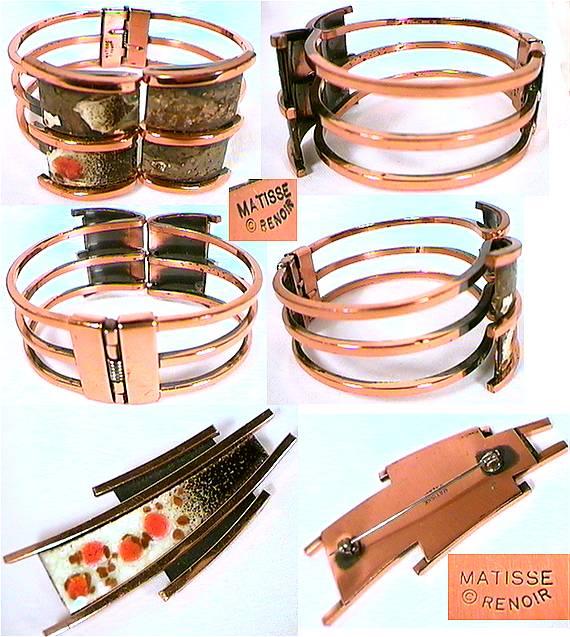 Tri Banded 1960 S Copper Bracelet Marked Matisse Renoir From California