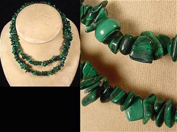 Necklace from stringed various sized malachite stones, polished and smoothed to bring out the grain.