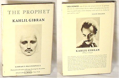 "Kahlil Gibran ""The Prophet"": a collection of poetic essays about various topics like love, marriage, good and evil, and prayer. Edition is off-white with Gibran's face on front and bio on back."