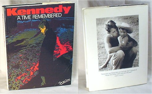 "Jacques Lowe's ""Kennedy: A Time Remembered"" shows John F. Kennedy's career and photographs of the Kennedy family. Book cover is an artistic portrayal of Kennedy standing in a dark coat, looking at ground."
