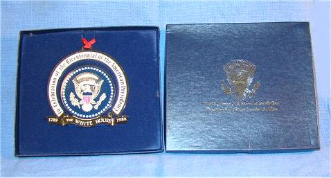 Presidential Seal metal ornament with enameling in blue box with seal.