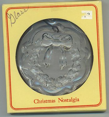 "Glass wreath ornament by Fostoria in box marked ""Christmas Nostalgia."""
