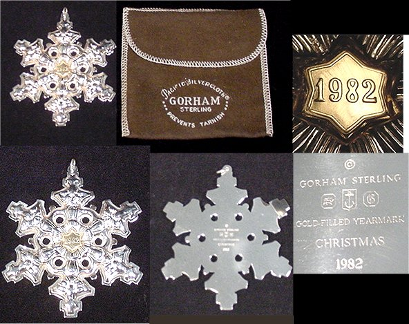 "Sterling silver snowflake with gold-filled center marked ""Gorham Sterling Christmas 1982""."