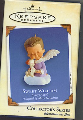 Sweet William – Angel boy in purple robe with puppy from the Hallmark series, Mary's Angels.