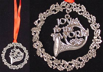 "Pewter french horn ornament with holly wreath and ""Joy to the World"""