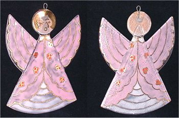 Red haired angel in pink and white robe ornament, art glass.