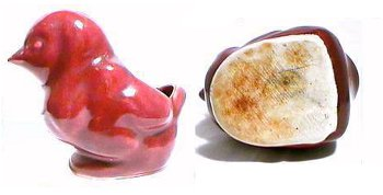 Red bird chick planter by Camark.
