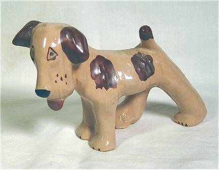 Tan beagle with brown spots, figurine by Grindley Pottery