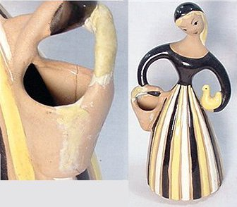 Damaged Hedi Schoop figurine, woman standing with basket.