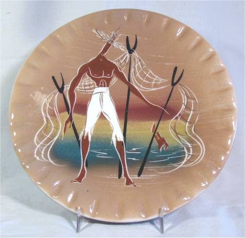 Tan plate with stylized beachcomber with nets on sunset background.