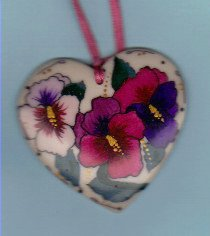 Gayle Andrews pottery heart jewelry with orchids, signed on back.