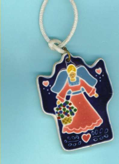 Pottery necklace blonde angel in pink dress on blue background by JoAnn Duban.
