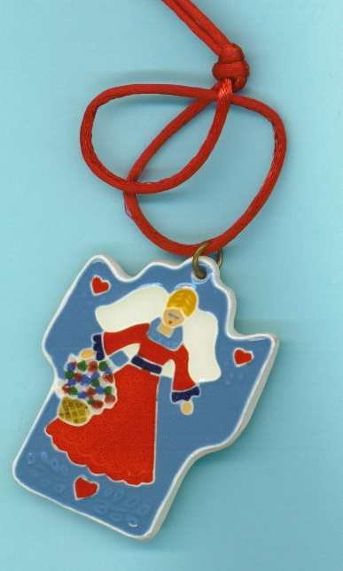 JoAnn Duban pottery necklace with angel in red robe.
