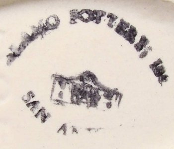 Alamo Pottery black ink stamp on vitreous Art Deco pottery.