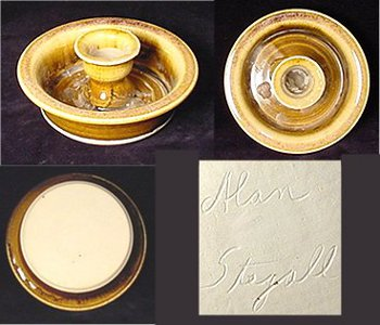 "Pottery candleholder from Erwin, Tennessee signed ""Alan Stegall""."