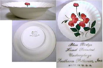 Hand-painted flowers on vintage serving bowl from Blue Ridge Pottery Erwin, Tennessee.