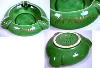 "In-mold ""Camark"" mark on bottom of green ashtray."