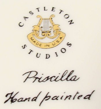 Castleton China mark with lyre, hand-painted and made in USA.