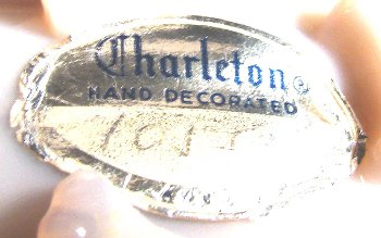 Charleton Decorating Company label on Cambridge crown tuscan glass shell.
