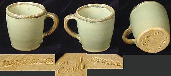 Arden, North Carolina tan clay pottery incised Evan's mark on green glaze cup.