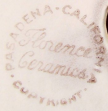 Stamped mark Florence Ceramics in script on ceramics production.
