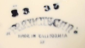 Franciscan California mark black ink used 1949 to 1953.