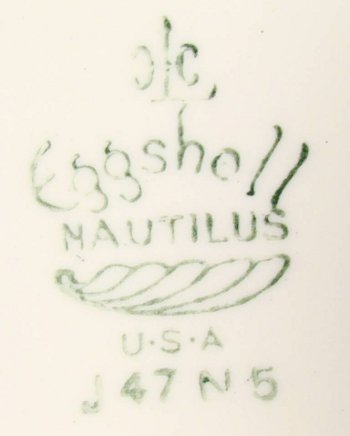 HLC Eggshell Nautilus mark for 1947 dinnerware with rose decal.