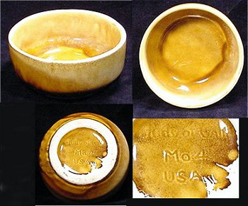 "Judy of California ""Mo4 USA"" in-mold mark on white clay with yellow drip glaze."