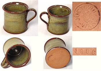 Jugtown Ware mark on hand-turned pottery red clay mug dated 1986.
