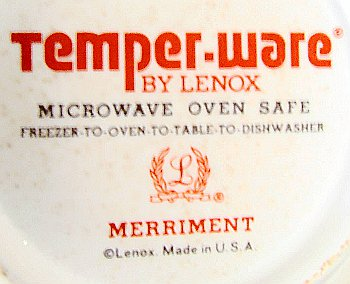 Temper-Ware by Lenox mark on Merriment saucer with Lenox logo and Made in U.S.A.