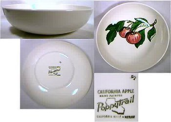 Black printed mark for Metlox Poppytrail hand painted California Apple dinnerware.