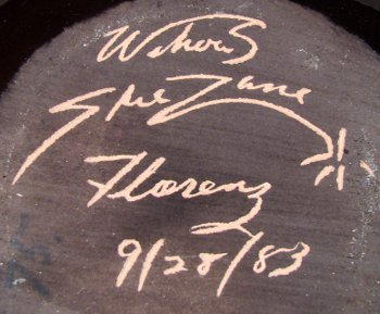 Wihoas SheZane Florenz 9/28/83 incised mark on Rick Wisecarver decorated vase.