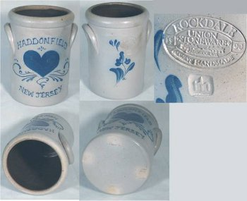 Rockdale Union Stoneware incised mark on decorated Haddonfield New Jersey crockery.