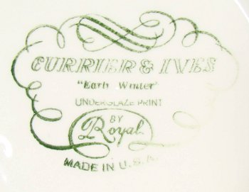 Green cartouche backstamp on Royal China Currier and Ives dinnerware.