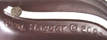 Royal Haeger in mold mark on earth wrap graphics dish.