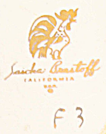 Sascha Brastoff California rooster logo on mid-century ashtray with Sascha B mark on front.