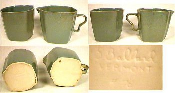 "Sugar and creamer marked ""S. Ballard Vermont"" beige clay."